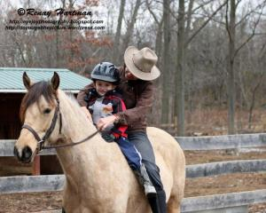 Peter riding with me bareback