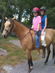 Riding bareback together, Olivia & Anna Kate