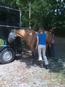 Caring for the horse--Anna Kate & HH