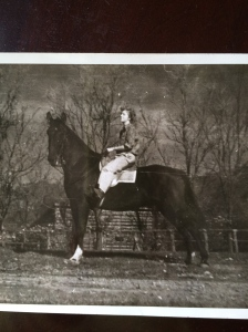 Mom astride her huge gaited gelding, Duke.