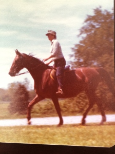 Our mother riding the last 'big' horse she ever owned, Snip.
